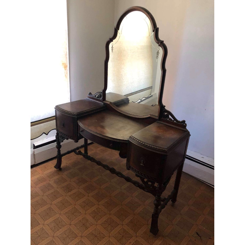 Antique 1920s Inlaid Vanity W Mirror Original Handles Aptdeco