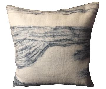 West Elm Pillow Cover in White & Blue