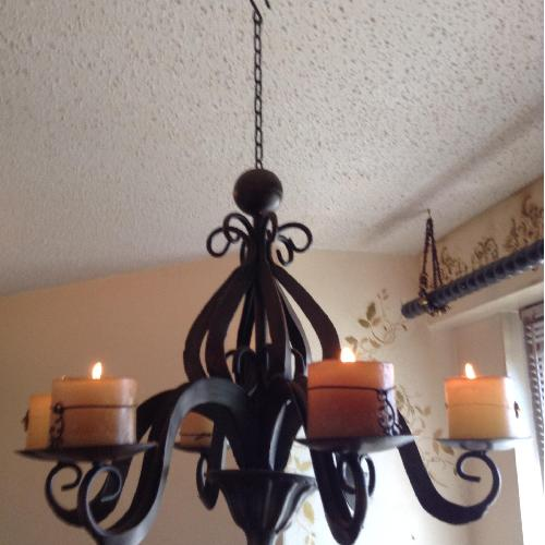 Used Z Gallerie Chandelier w/ 6 Candles for sale on AptDeco