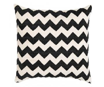 Madeline Weinrib Black Chevron Block Print Pillows