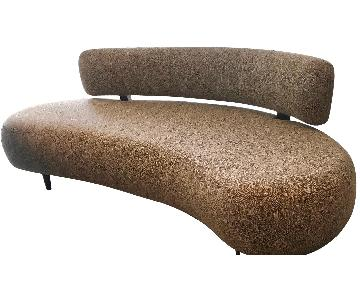 Custom Mid-Century Style Curved Banquette