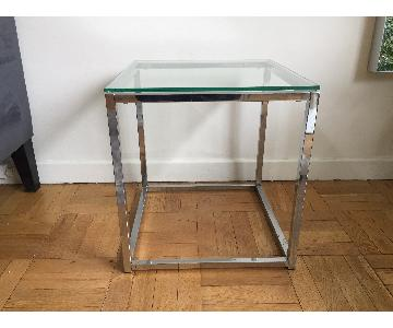 CB2 Glass & Steel Cube Side Table
