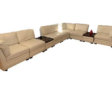 Ashley White Faux Leather Sectional Sofa