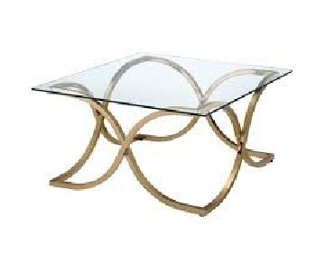 Furniture of America Luxa Square Glass Top End Table