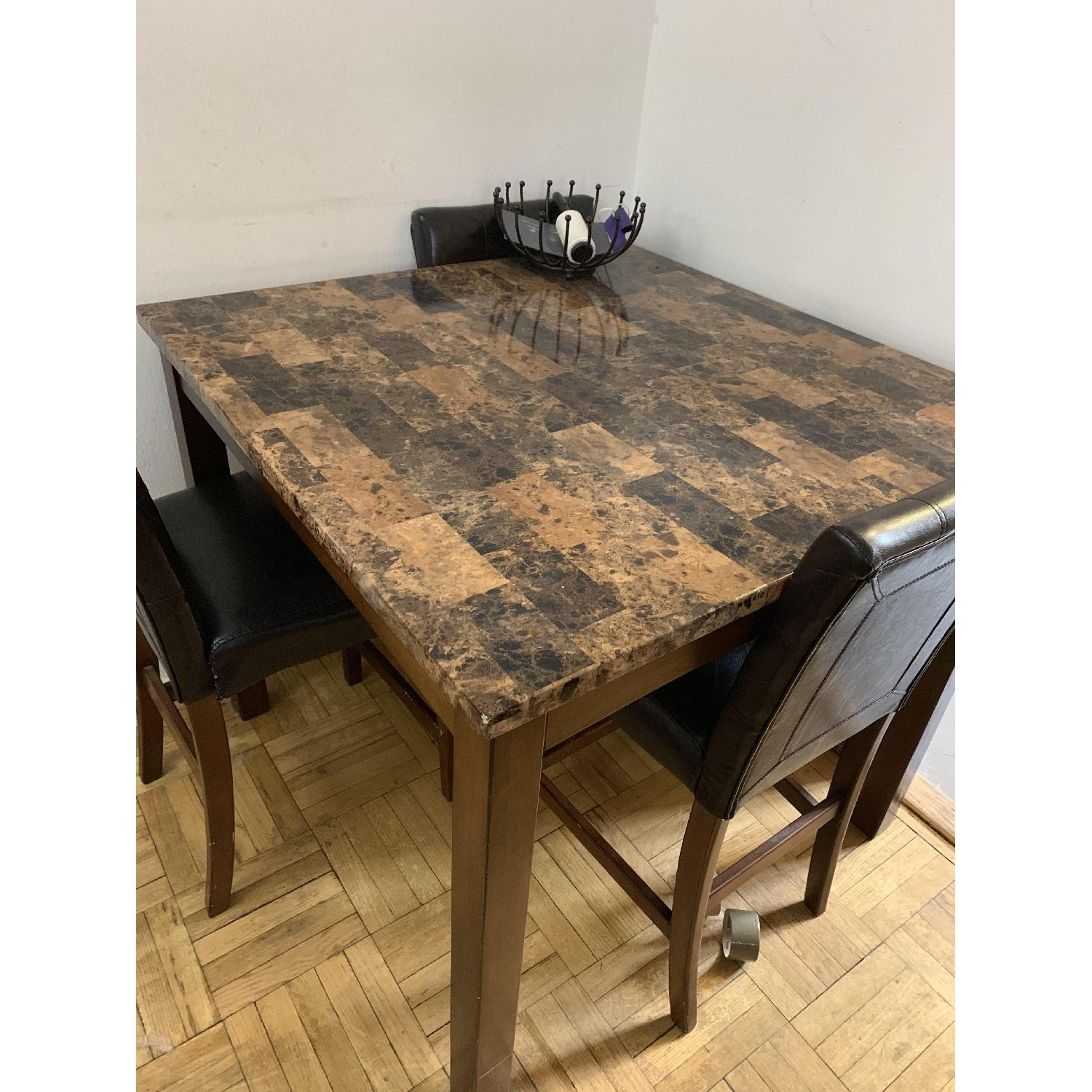 West Elm Square Faux Marble Top Table w/ 3 Leather Chairs