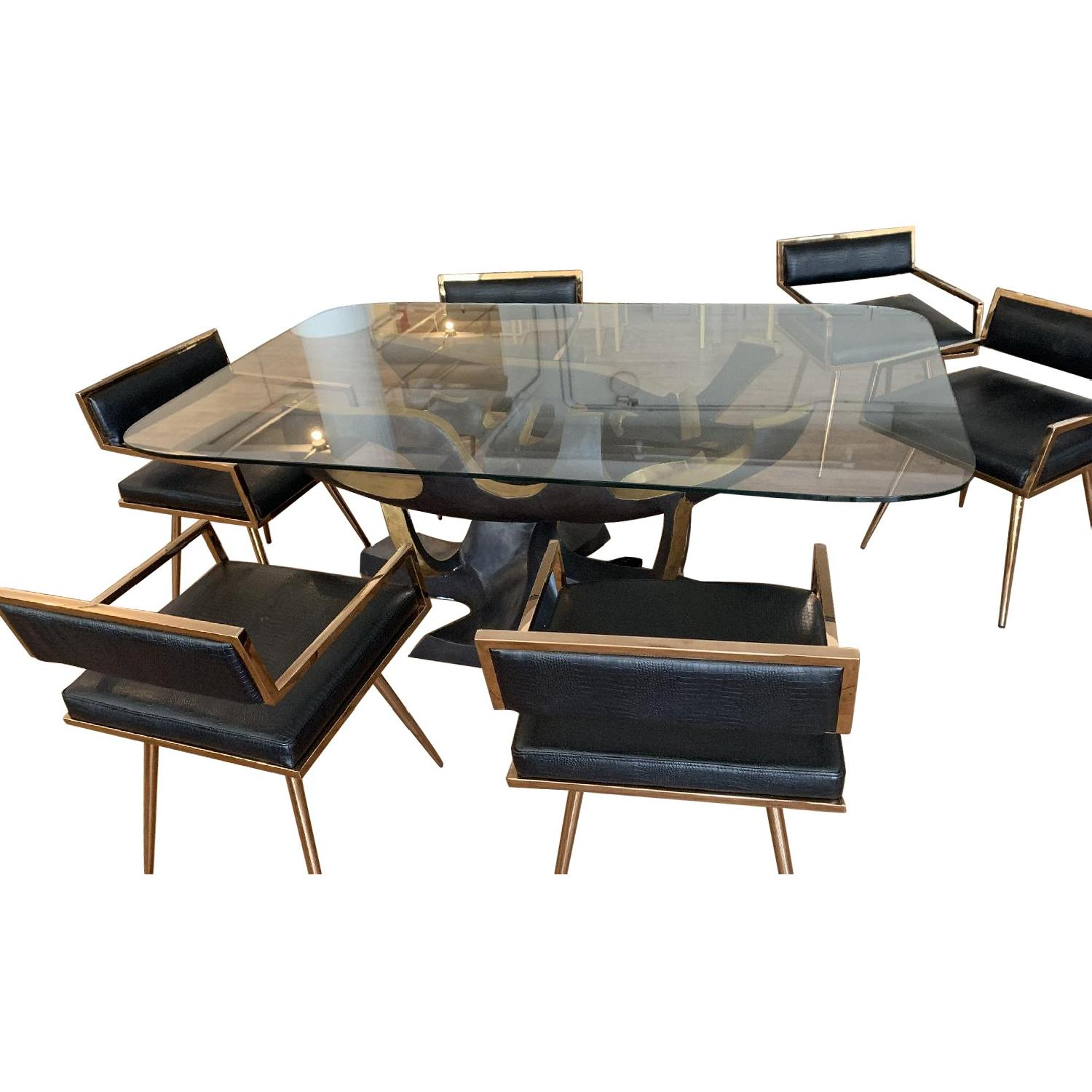 Modloft Tree Base Dining Table w/ 6 Leather Dining Chairs