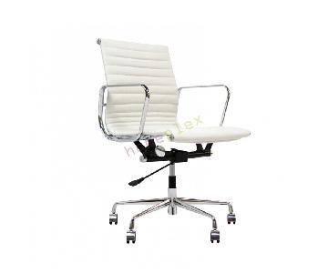 White Faux Leather & Metal Armchair on Wheels