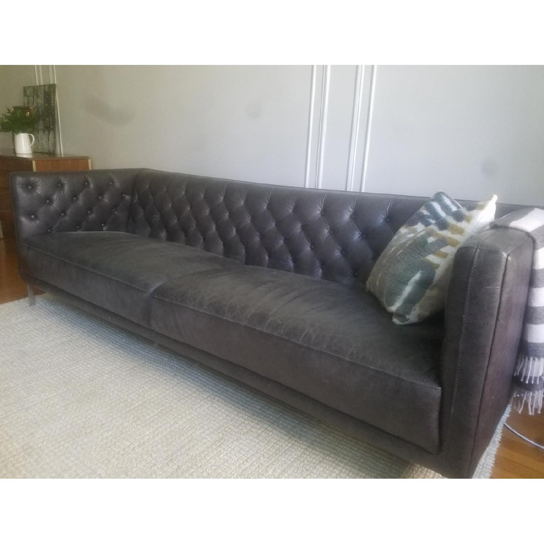 CB2 Savile Black Leather Tufted Sofa