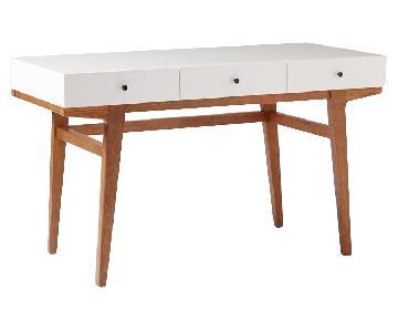 West Elm Modern Desk in Pecan/White