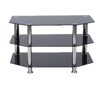 Flash Furniture North Beach Black Glass TV Stand