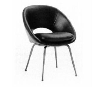 West Elm Orb Dining Chairs in Black Leather