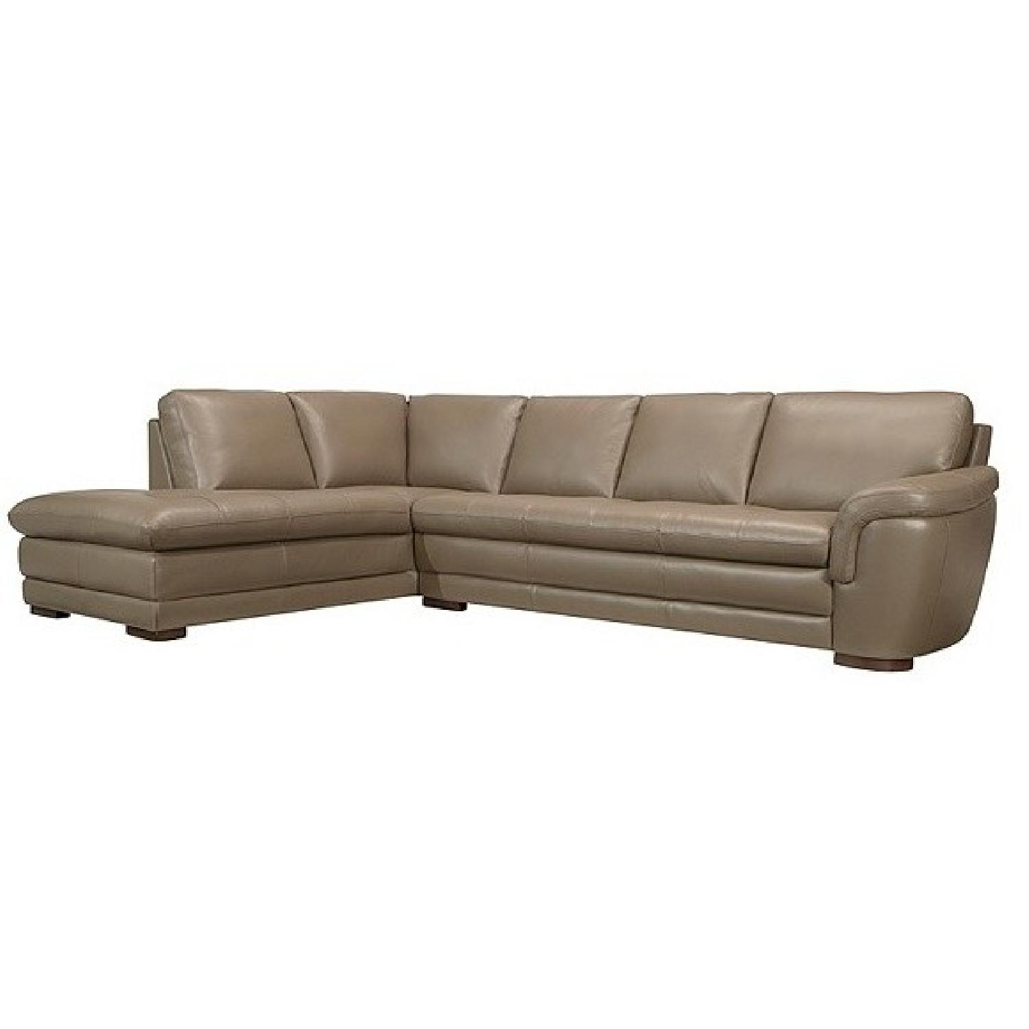 Raymour & Flanigan 2 Piece Leather Sectional Sofa & - AptDeco
