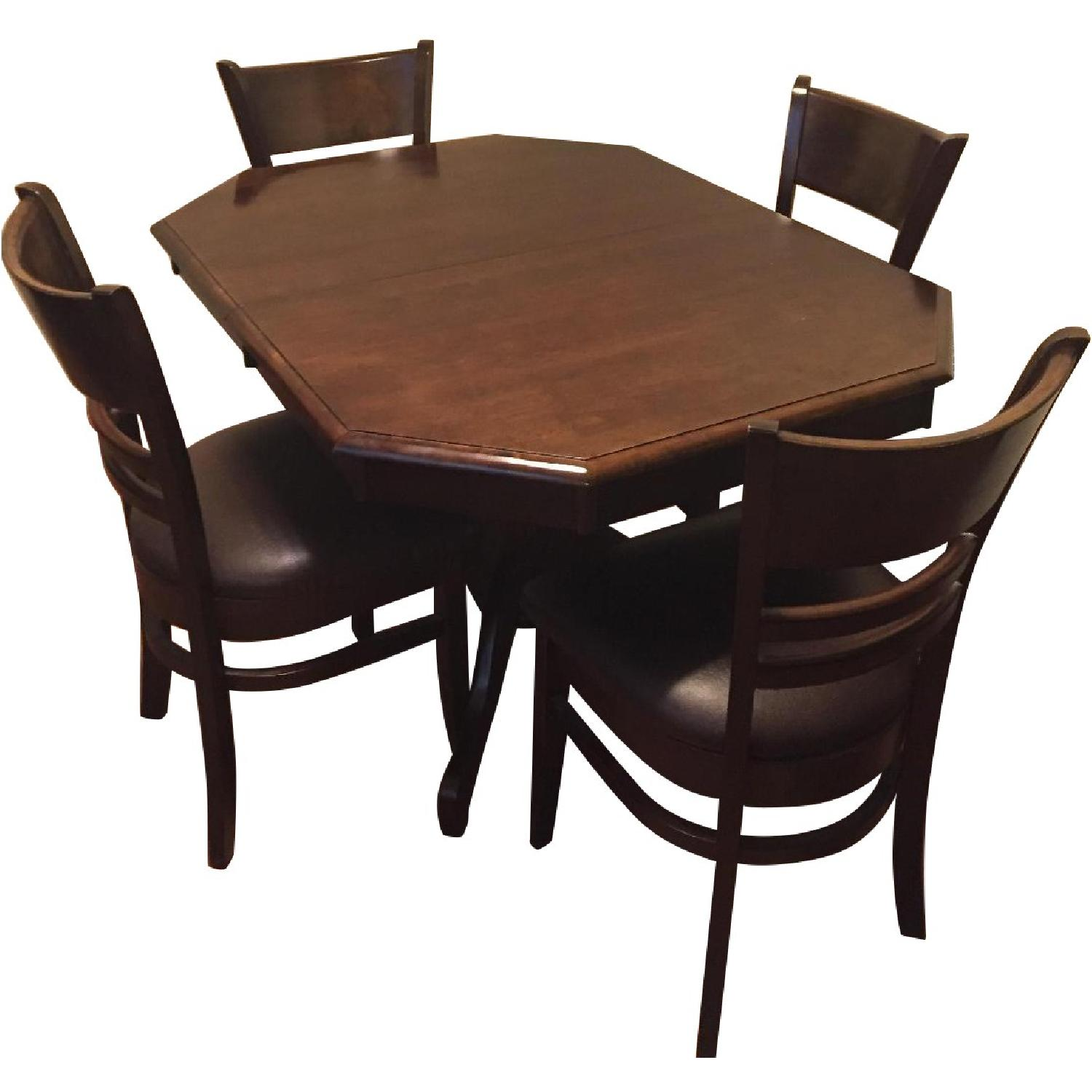 Hardwood Extension Dining Table w/ 4 Wooden Chairs