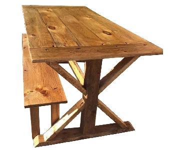 Custom Designed Farm Table w/ 2 Benches