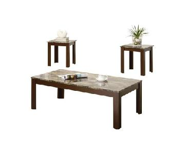 Faux Marble Top Brown Coffee Table + 2 End Tables