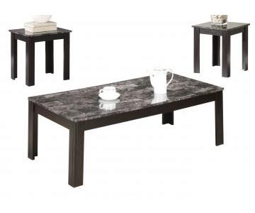 Cappuccino Glass Top Coffee Table + 2 End Tables