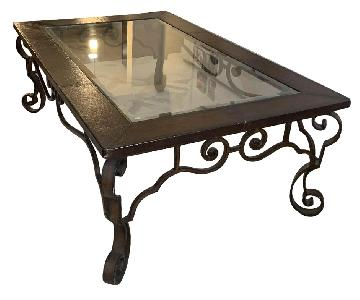 Glass Coffee Table w/ Brown Leather Outline
