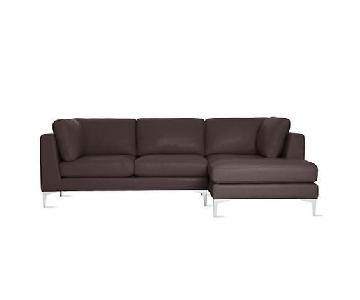 Design Within Reach Albert Leather Chaise Sectional Sofa