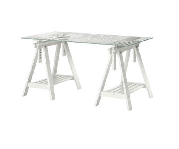 Ikea Glasholm/Finnvard Modern Glass Desk