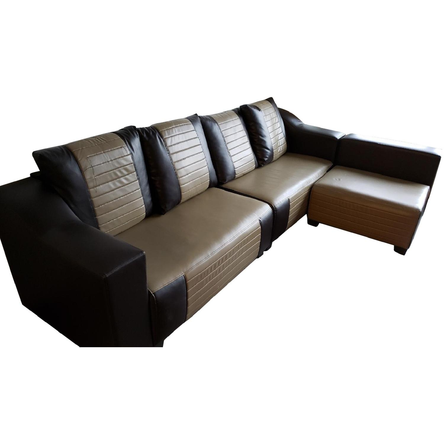 L Shaped Brown Leather Sectional Sofa - AptDeco