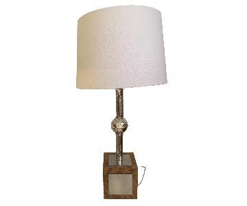 Mid-Century Modern Wood & Silver Table Lamp