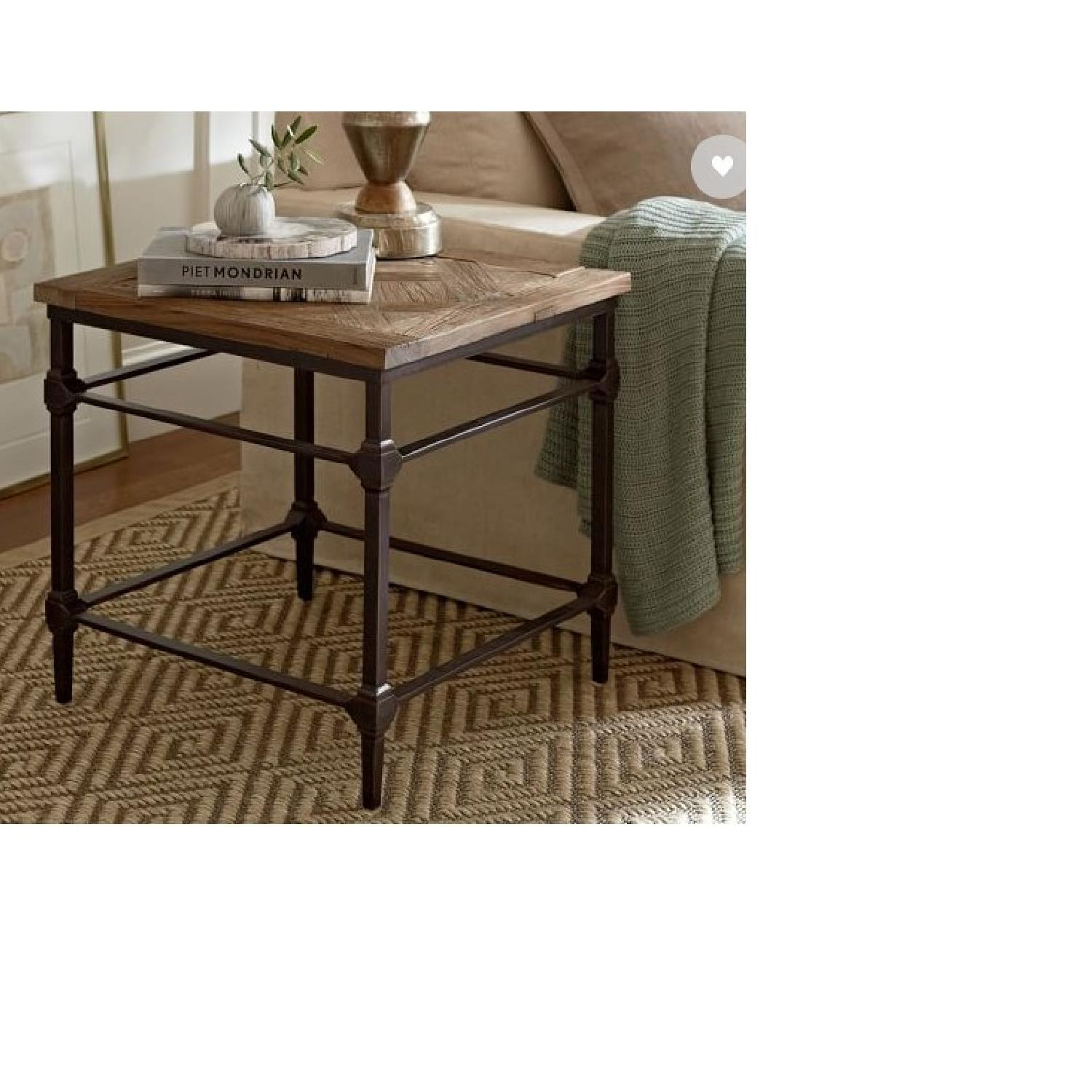 Pottery Barn Parquet Reclaimed Wood End Table-0