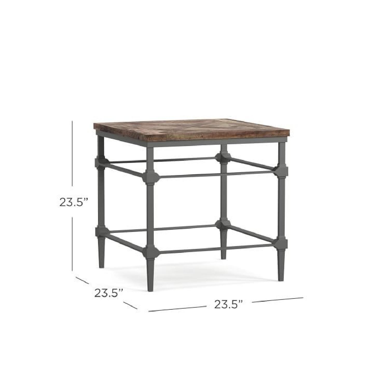Pottery Barn Parquet Reclaimed Wood End Table-1
