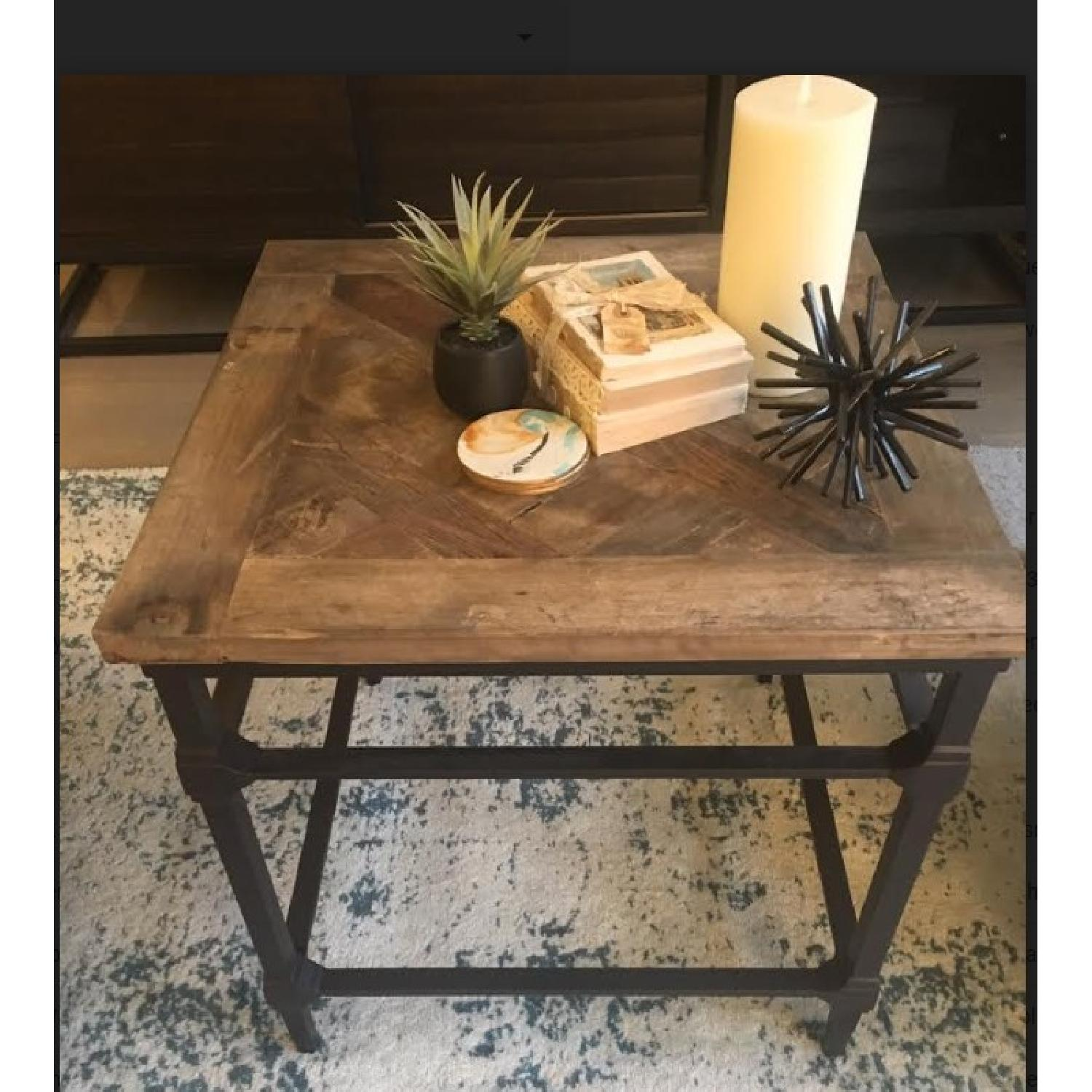 Pottery Barn Parquet Reclaimed Wood End Table-2