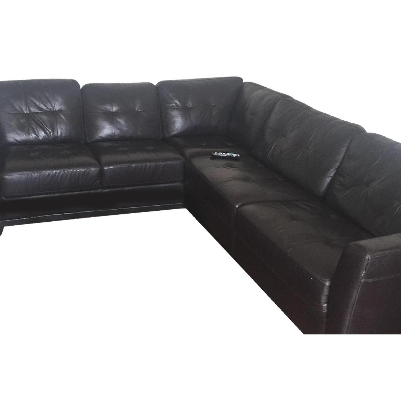 Macy\'s Martino Black Leather Sectional Sofa - AptDeco