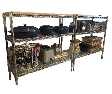 Wood Top Wire Shelving Units