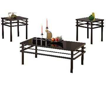 Black Contemporary Style Coffee Table + 2 End Tables