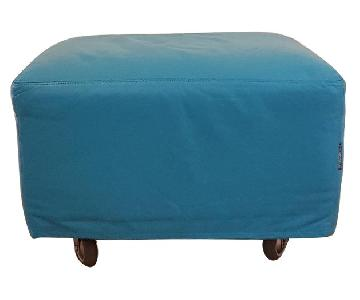 Teal Blue Ottoman on Casters