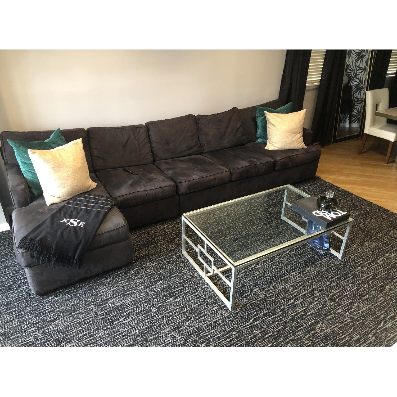 Black Suede 2 Piece Sectional Sofa Aptdeco