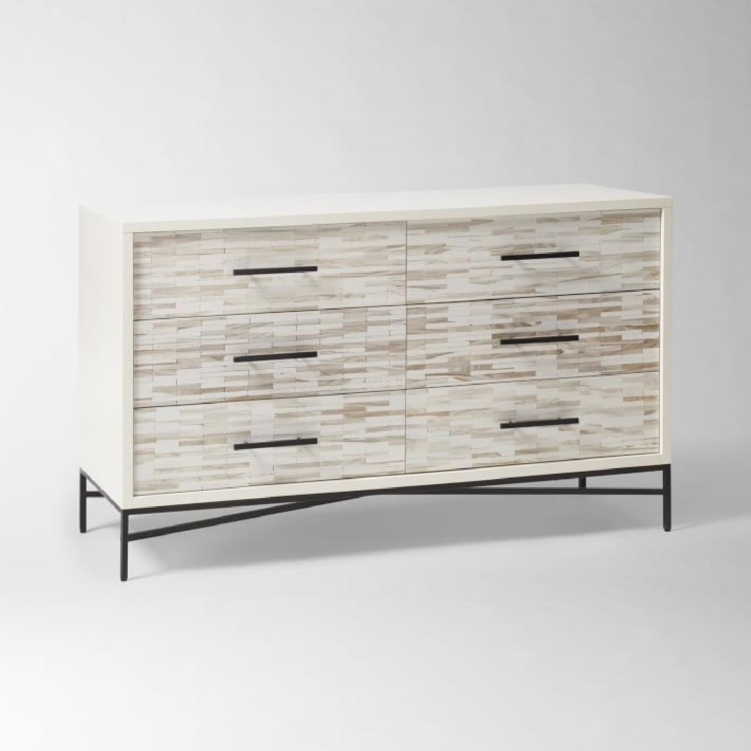West Elm Wood Tiled 6-Drawer Dresser in Whitewash-0
