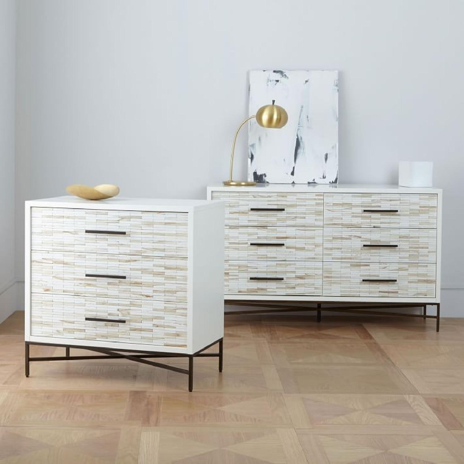West Elm Wood Tiled 6-Drawer Dresser in Whitewash-1