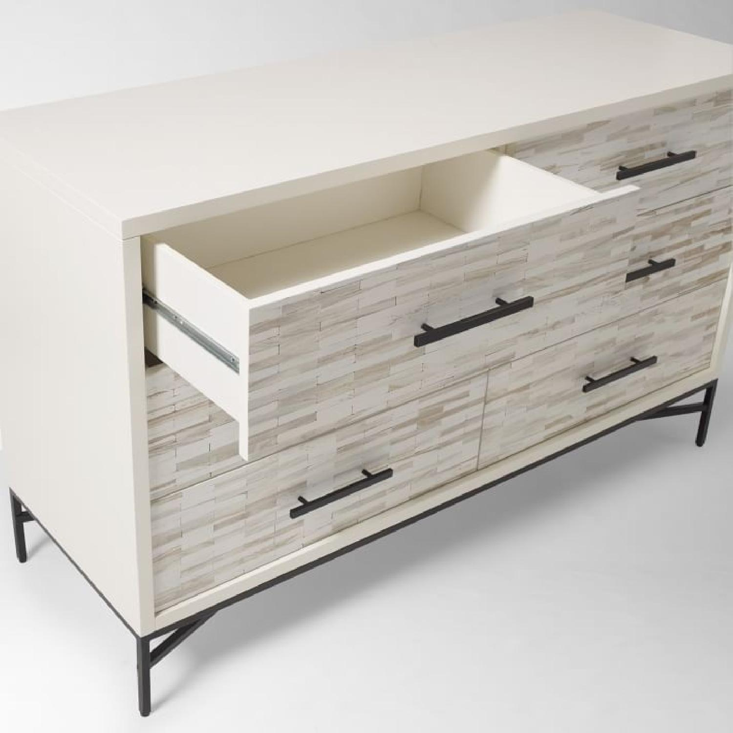 West Elm Wood Tiled 6-Drawer Dresser in Whitewash-2