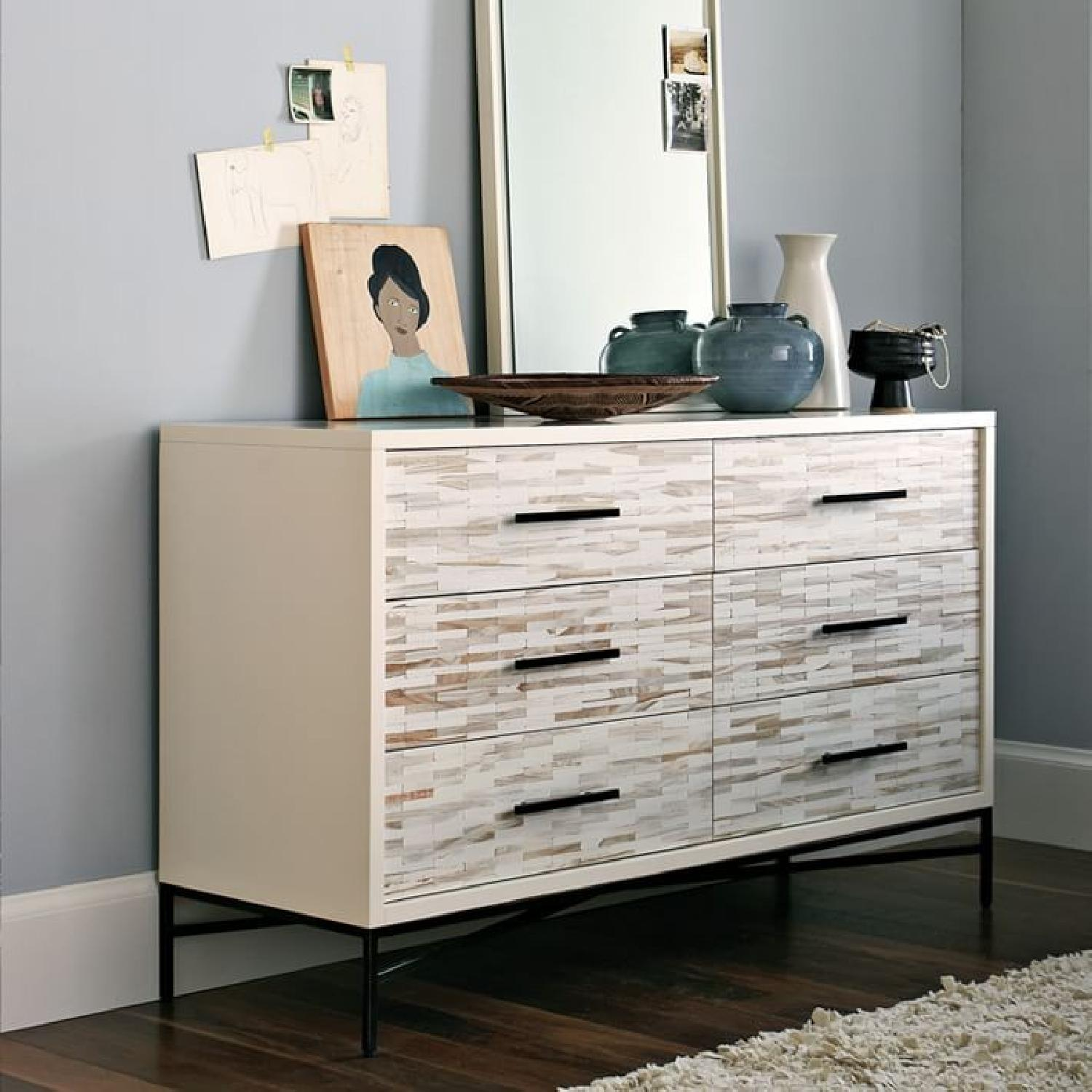 West Elm Wood Tiled 6-Drawer Dresser in Whitewash-3