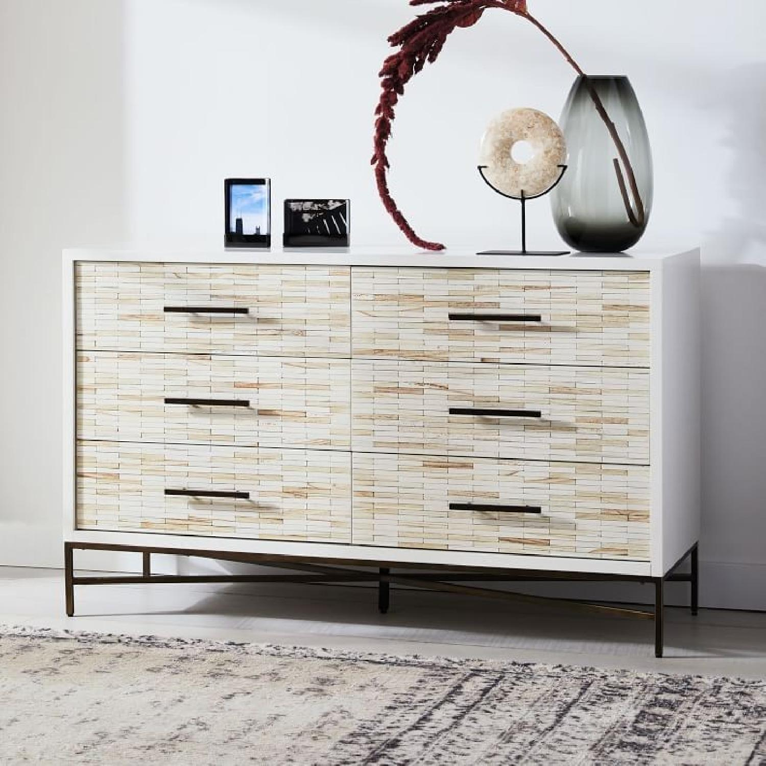 West Elm Wood Tiled 6-Drawer Dresser in Whitewash-5