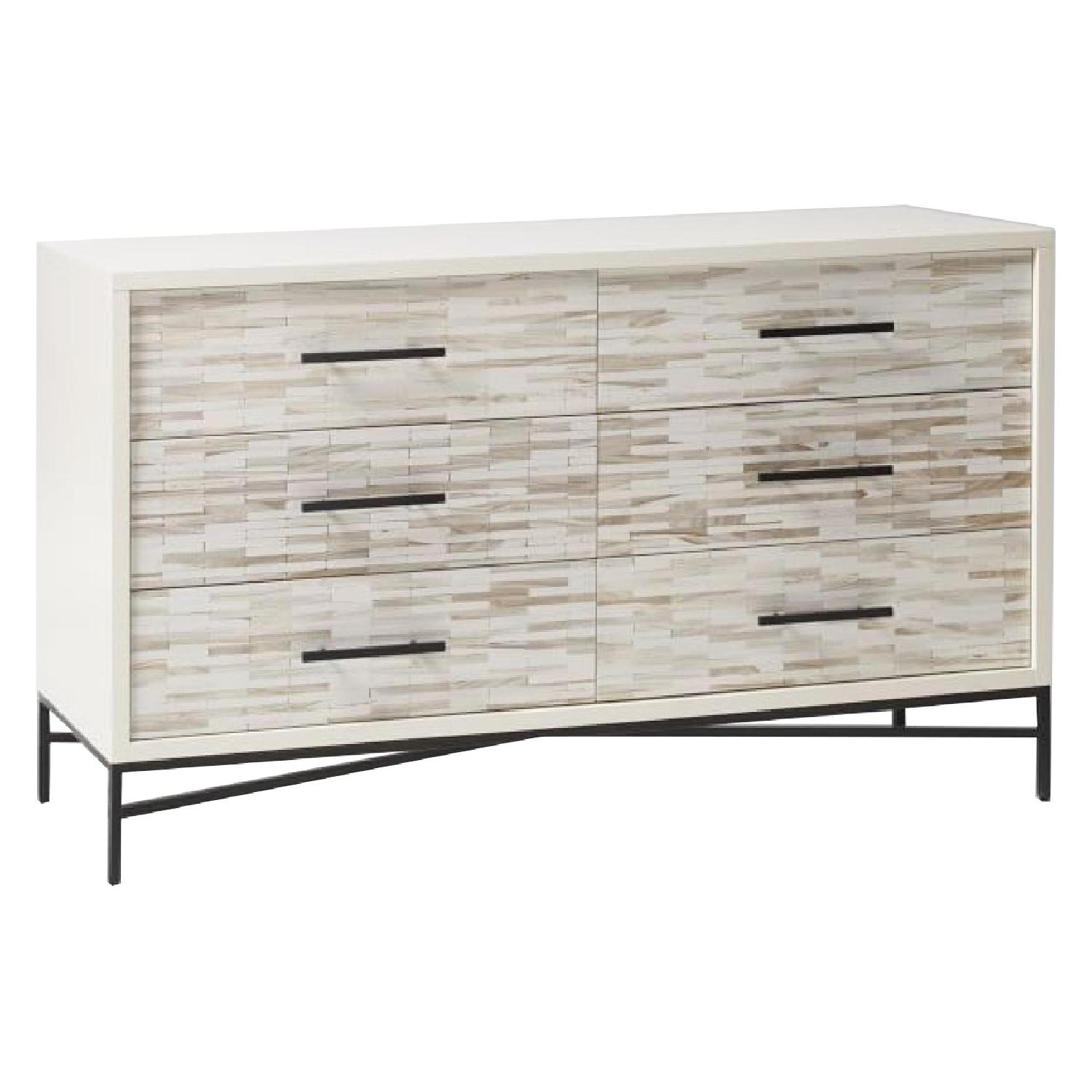 West Elm Wood Tiled 6-Drawer Dresser in Whitewash