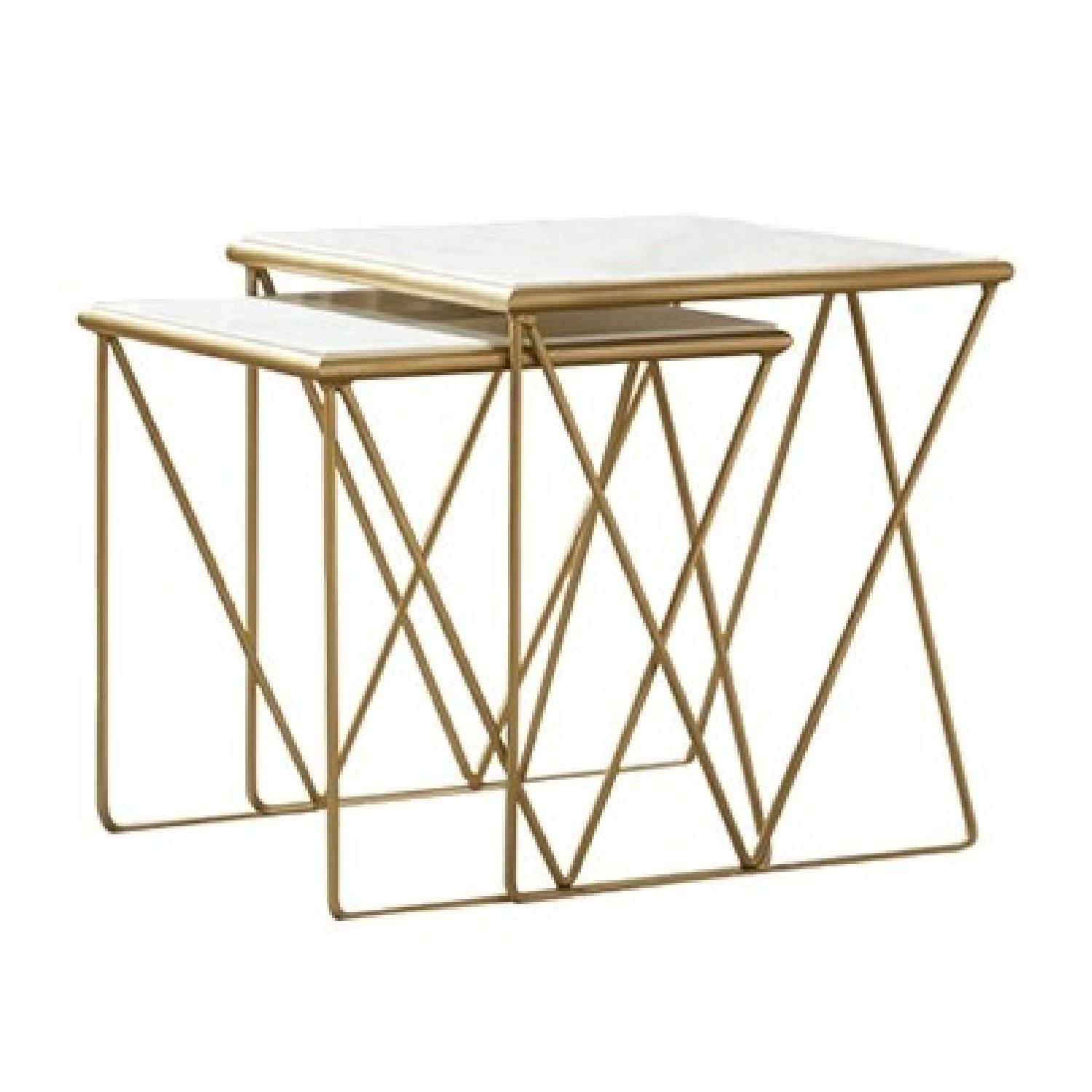 2-Piece Nesting Tables w/ Marble Top & Gold Chrome Base