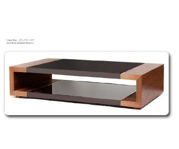 Open Storage Coffee Table w/ Walnut Veneer Frame & Black Glass Insert & Brushed Aluminum Trim