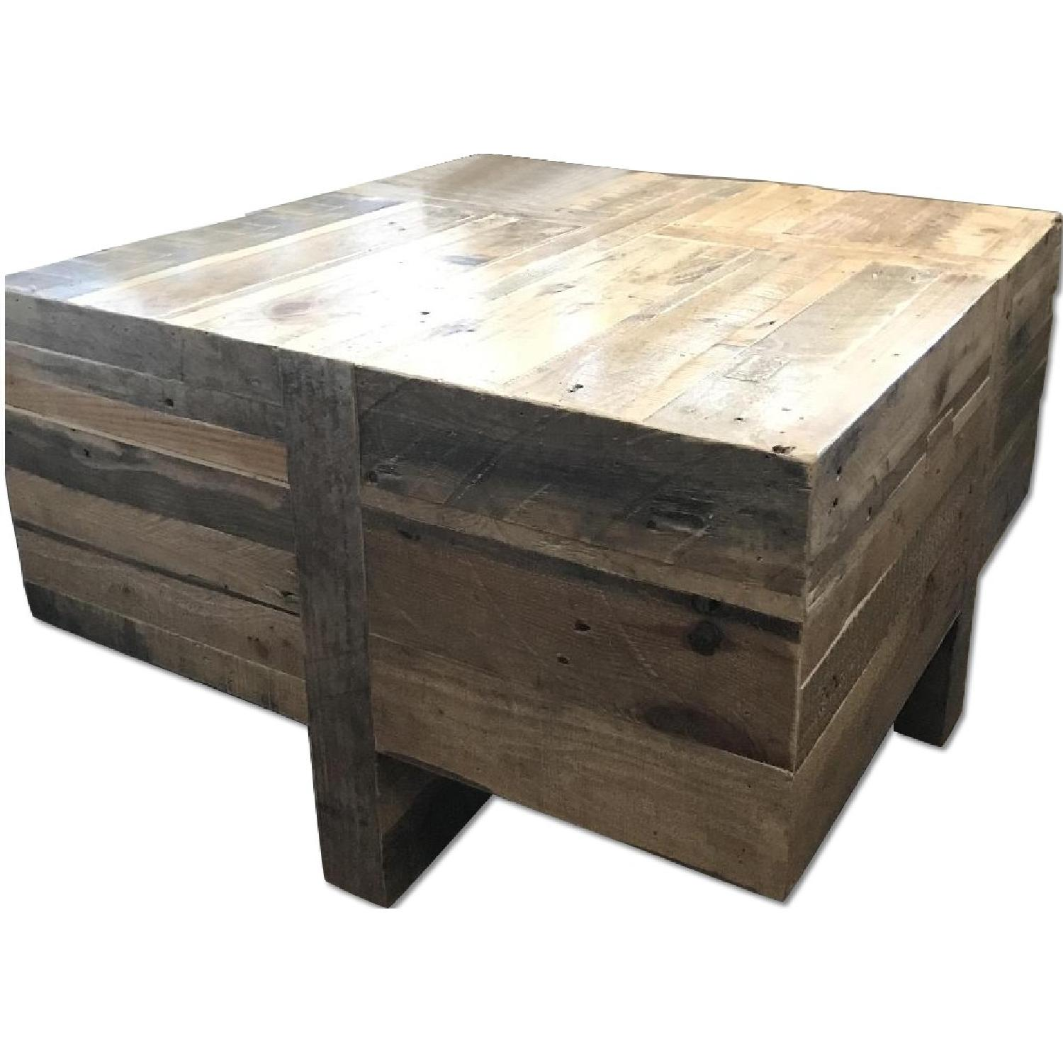 West Elm Reclaimed Wood Block Side Coffee Table Aptdeco