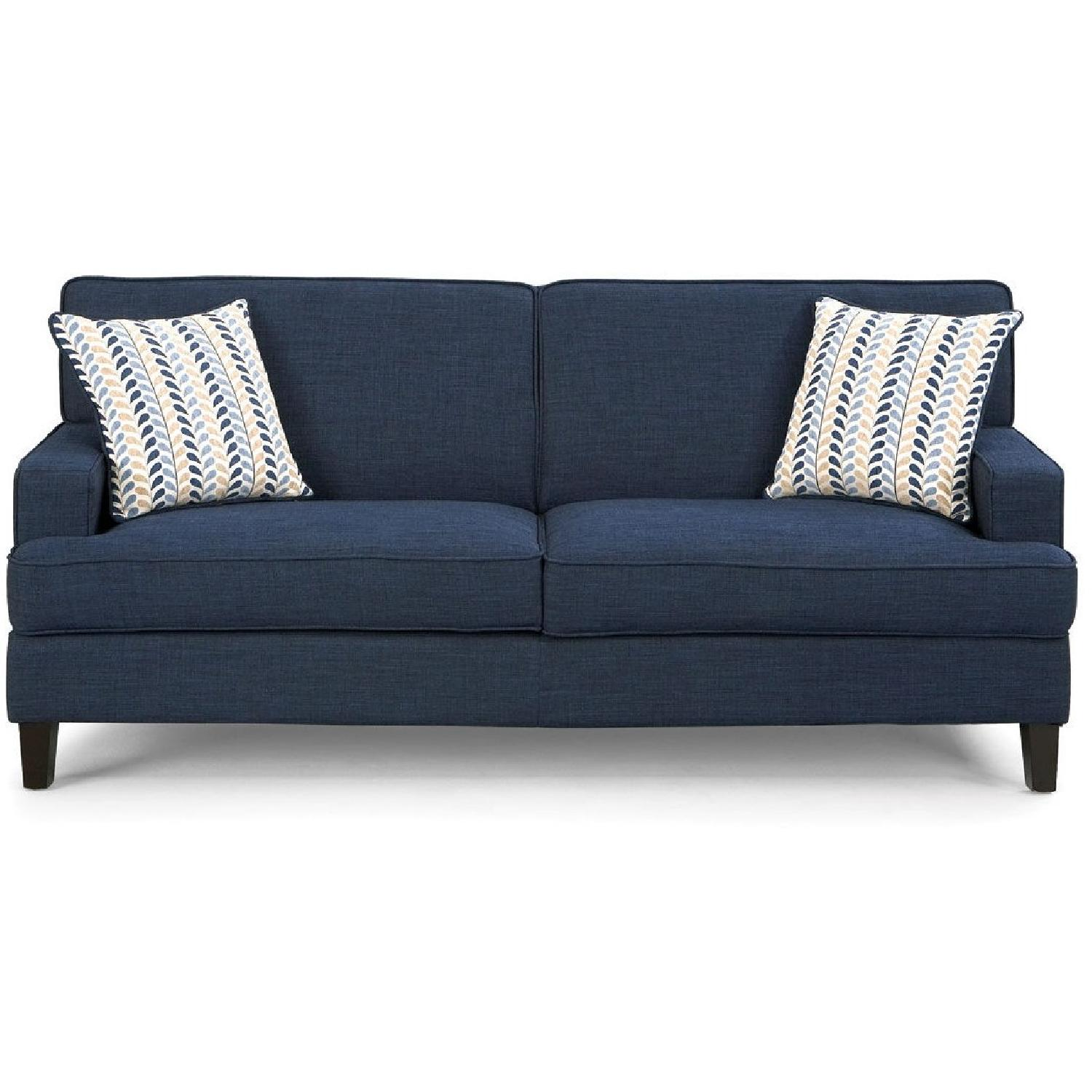 Ink-Blue Fabric Sofa w/ Pocket-Coil Cushions & Accent Pillows