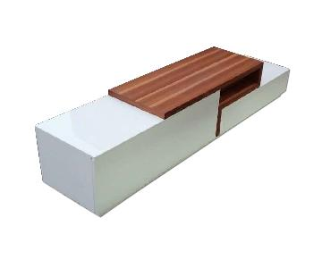 Modern Low TV Stand in White Lacquer & Walnut Finish w/ Close Tracks