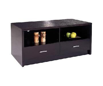TV Stand w/ 2 Storage Drawers & 2 Media Compartments