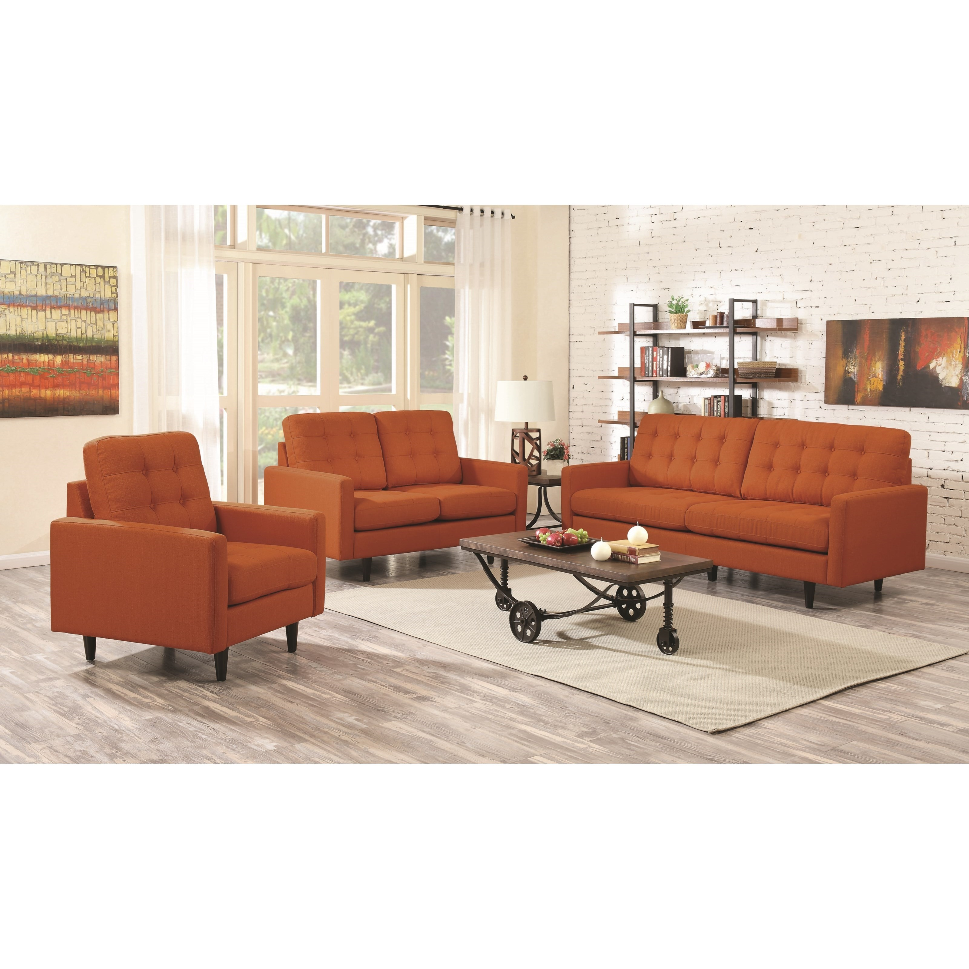 Mid-Century Modern Style Sofa w/ Reversible Seat & Back ...