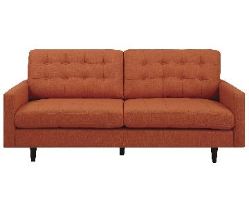Mid-Century Modern Style Sofa w/ Reversible Seat & Back Cushions in Orange Fabric