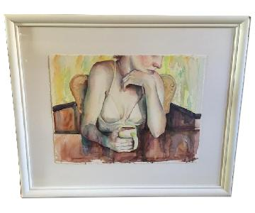 Signed Wall Art - Woman with Morning Coffee