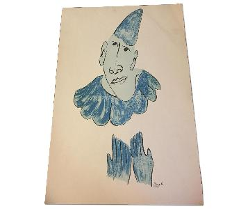 Signed & Numbered Chagall Lithograph - Blue Clown