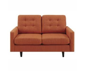 Mid-Century Modern Style Loveseat w/ Reversible Seat & Back Cushions in Orange Fabric